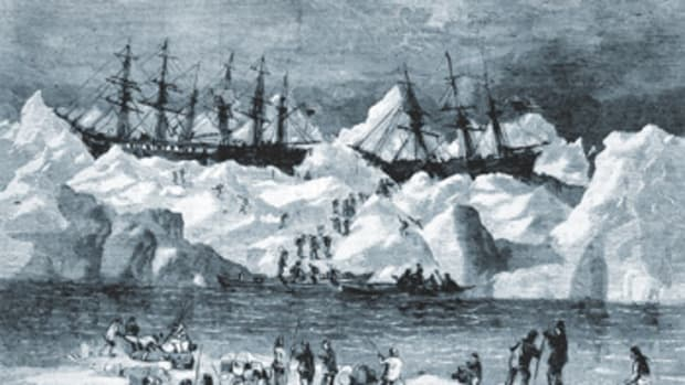No lives were lost when the 33 whalers, trapped in Arctic ice, were abandoned in 1871.