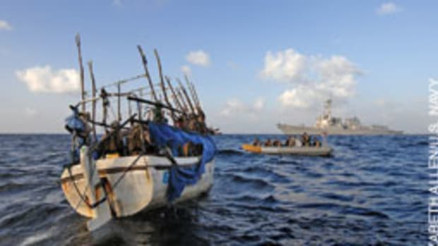 A Somali skiff is about to be boarded by U.S. forces in the Gulf of Aden.