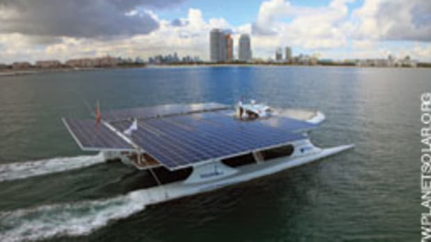 The cat crossed the Atlantic in record time for a solar-powered vessel.