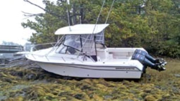 A Coast Guard Station South Portland crew found this vessel aground Oct. 15 after heavy weather moved through the area.