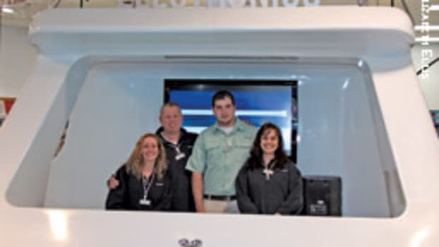 Some of the crew at the new West Marine store in Brick, N.J. (from left) Sales specialist Shannon O'Neill, electronics specialist Brad Ries, fishing specialist Ty McGowan and general manager Odette Intill.