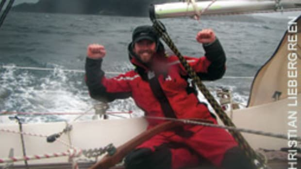 A jubilant Christian Liebergreen rounded Cape Horn, but he dismasted before finishing his adventure.