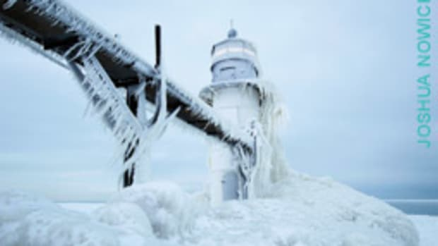 St. Joseph Lighthouse on Lake Michigan this winter.