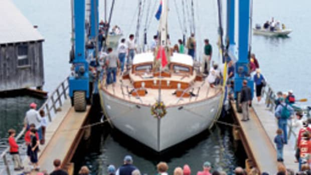 Bequia, a 90-foot cruising yawl out of Brooklin Boat Yard, was launched in June.
