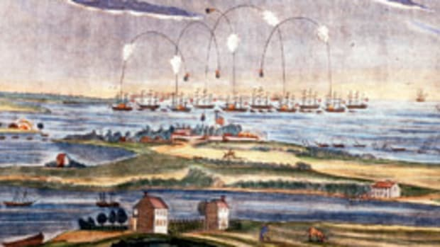 The 'rockets' red glare' and 'bombs bursting in air' shed the only light over Fort McHenry during the Sept. 13, 1814 attack.