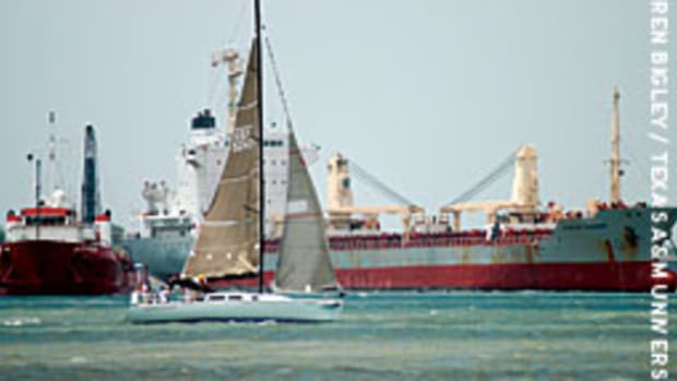 Cynthia Woods is shown on her way out of Galveston Bay at the start of the fateful regatta.