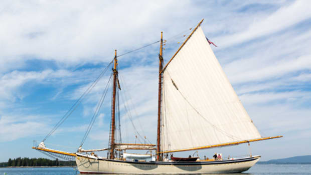 A National Historic Landmark, the schooner American Eagle has sailed the Maine coast since 1930. Here, she's anchored at Islesford during a six-day cruise.