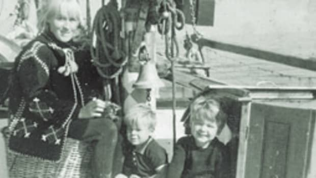 Griffiths and his family - wife, Hazel, and sons Christopher, right, and Julian - left Calais, France, in high spritis.