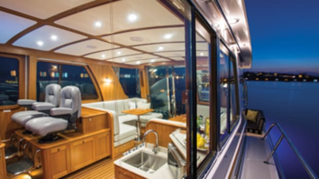 The deckhouse is the center of attention on Sabre's 54 Flybridge.