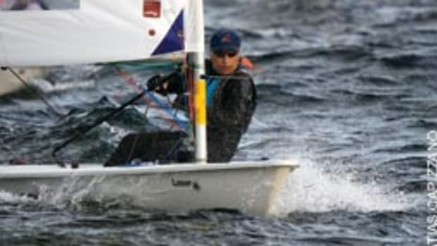 Peter Seidenberg, 73, is shown at the 2009 Laser Masters World Championships in St. Margaret's Bay, Nova Scotia.