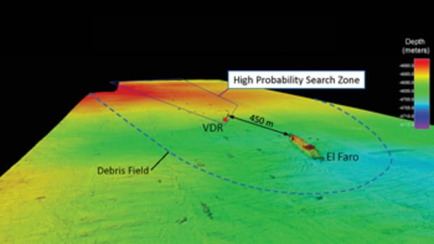 El Faro wreckage map.