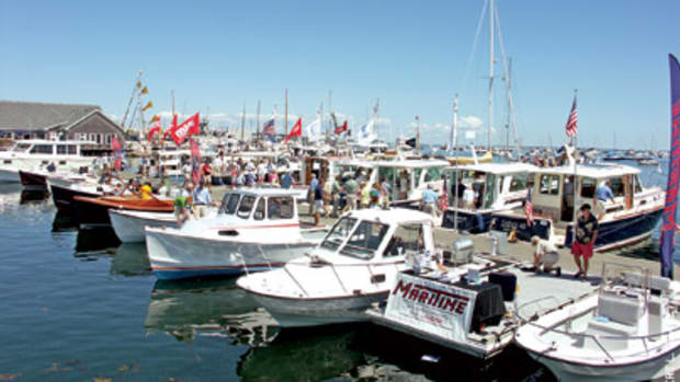 Scores of boats lined 2,200 feet of dock at Maine's only in-water boat show, the eighth annual Maine Boats, Homes and Harbors Show in Rockland, Maine.