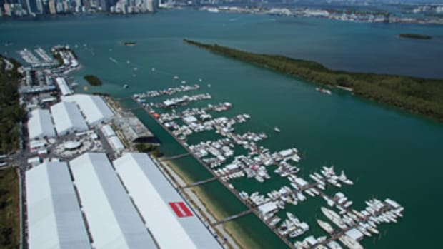 The venue for the Miami International Boat Show, on Virginia Key, cost some veteran show-goers time to get their bearings, but the consensus on the docks was the locale has great potential.