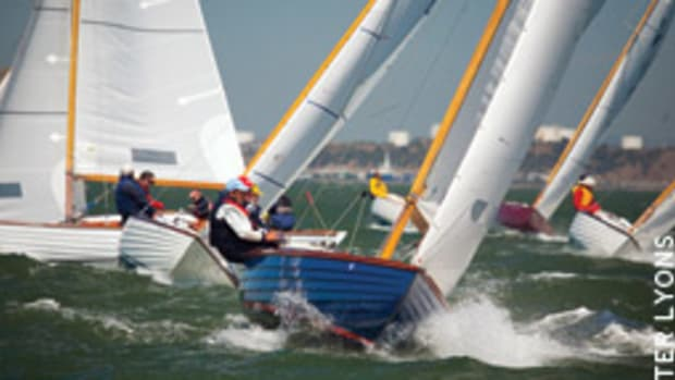 There's dense traffic on the layline as Nordic Folkboats jostle for position at the International Cup on San Francisco Bay.