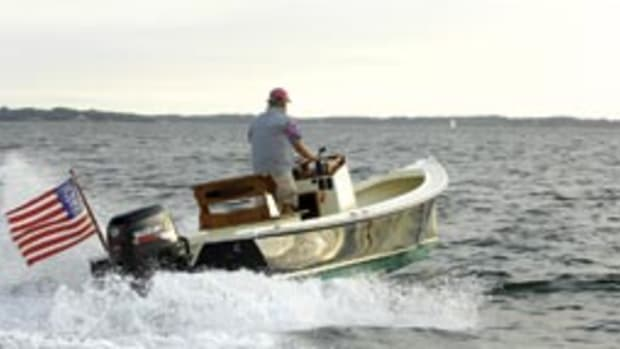 Stagepoint Boats in Westbrook, Conn., builds this 17-foot skiff.