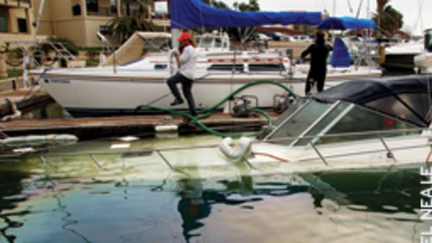Dockside sinkings are often caused by faulty underwater fittings, according to BoatUS, and the flooding can overwhelm the pumps.