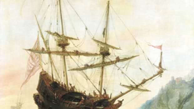 This Andries van Eertvelt painting depicts the Santa Maria on the first of the voyages Columbus made to North America.