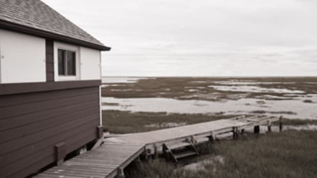 Kevin Braunlich's bay house on Middle Island overlooks wetlands.