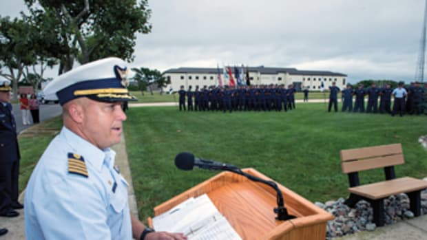 Capt. Todd Prestidge, commanding officer of the Coast Guard Training Center in Cape May, New Jersey, was given the Civil Rights Senior Leadership Award for championing equal employment opportunities and human-rights principles.