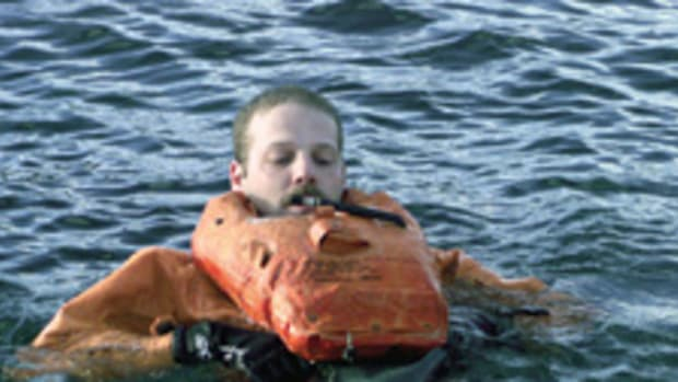 All Coast Guard air crews must undergo training in cold-water survival techniques.