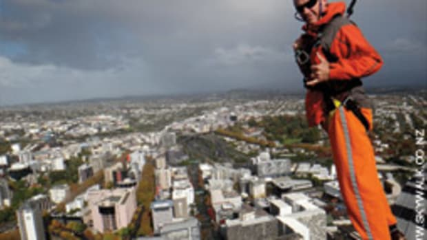 The writer got a bird's eye view of sailing mecca Auckland, New Zealand, from this perch on the Sky Tower.