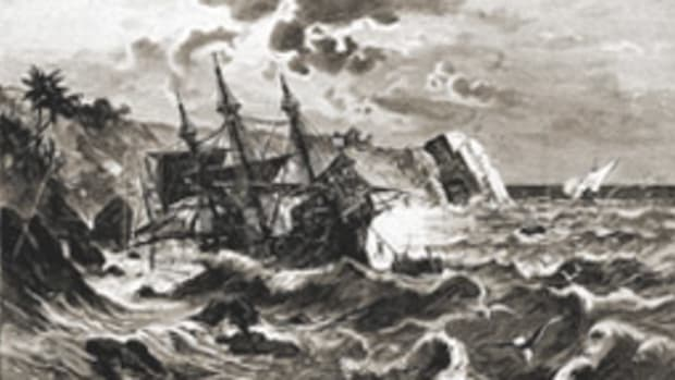 The Santa Maria hit a reef off Cap Haitien, Haiti, in 1492.