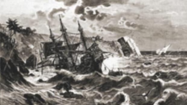 The Santa Maria hit a reef off Cap Haitien, Haiti, in 1492.