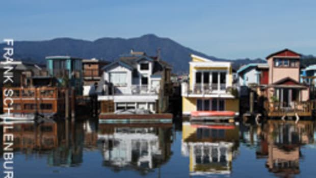The San Francisco Bay Area of city of Sausalito, Calif., is known for its houseboat community.