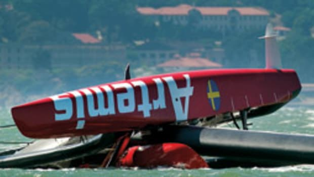 Artemis Racing's AC72 capsized during training exercises on San Francisco Bay.