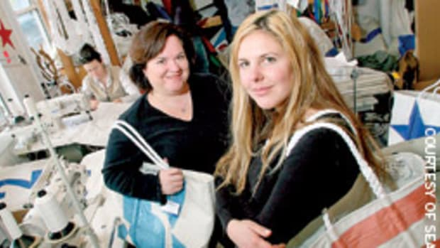 Beth Shissler, left, and Hannah Kubiak turn old sails into a fashion statement.