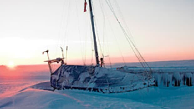 Ramos has twide been iced-in at Cambridge Bay. He's sailing a 39-foot steel cutter.