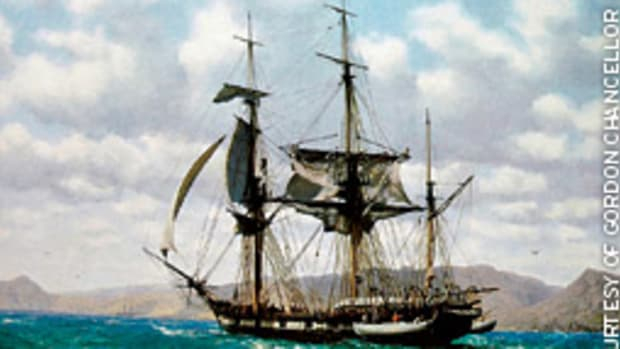 A painting by John Chancellor depicts HMS Beagle off James Island in the Galapagos, October 1835.