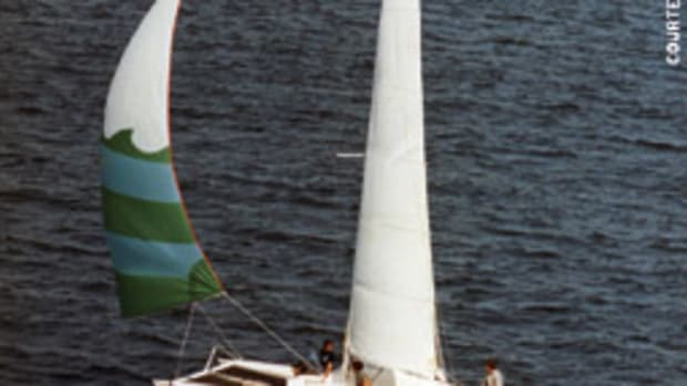 The author's father, bitten by the catamaran bug, built Bob Harris' Sunburner 27 design for family cruising.