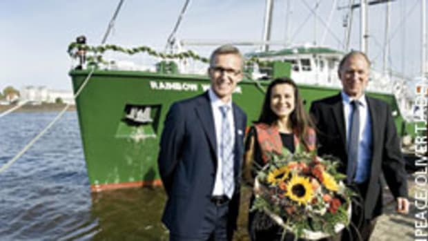 (From left) Harald Fassmer, CEO of Fassmer Shipyard, Melina Miyowapan Laboucan-Massimo, godmother of the ship, and Capt. Joel Stewart were on hand for the launching ceremony in Berne-Motzen, Germany.
