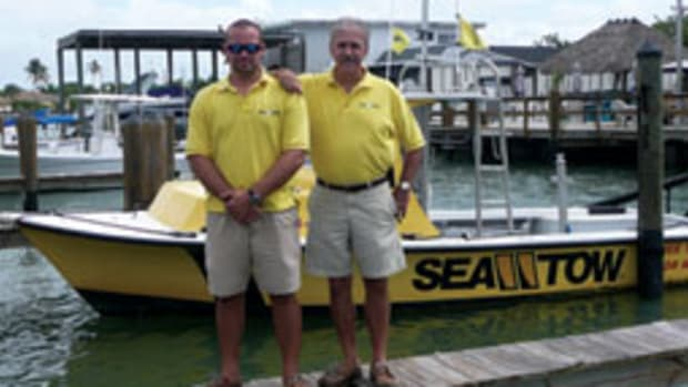Sea Tow Naples Capt. Dan Mercier Jr. and Dan Sr., owner of the franchise.