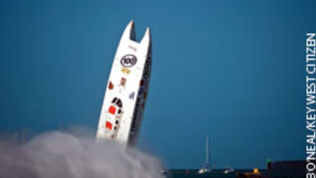 Big Thunder Motorsports, a 46-foot Skater, went airborne in a violent and fatal crash at the Key West Super Boat World Championships.
