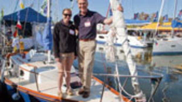 Hank Hinckley and his daughter, Sarah, were at the sailboat show with their elegant Great Harbor 26.