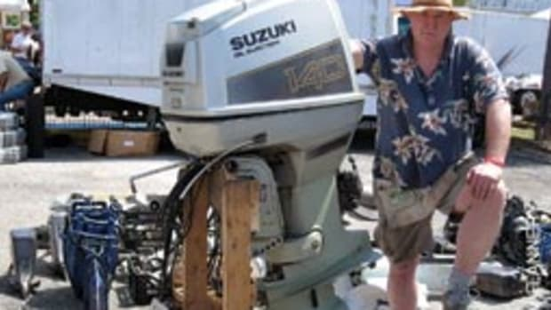 Rick Gray came from Ontario to sell reconditioned outboards and lower units at Dania.