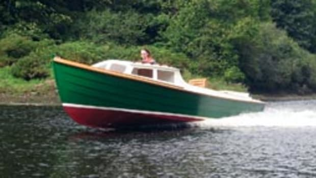 The Ninigret 22 was designed by John Atkin. The well for the outboard gives the boat a clean look.