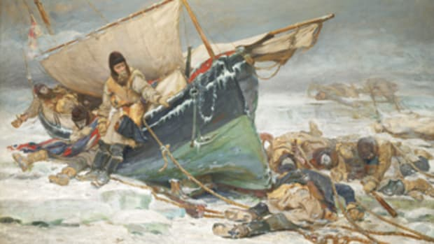"""They Forged the Last Links With Their Lives"": Sir John Franklin's Men Dying by Their Boat During the North-West Passage Expedition, painted by W. Thomas Smith in 1895."