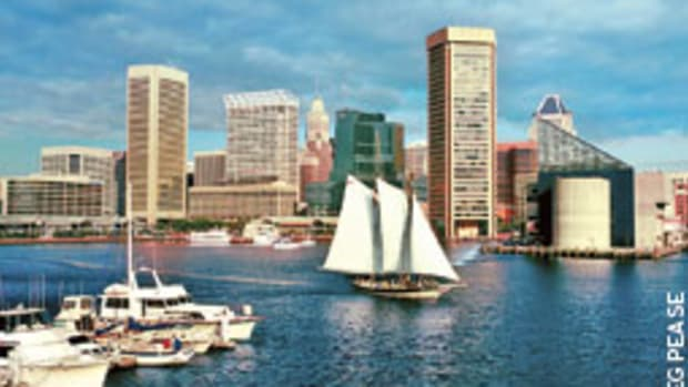 The Lady Baltimore, one of Gillmer's designs, sails in the Baltimore Inner Harbor.