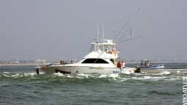 This 48-foot Viking ran onto a shoal in Florida's St. Augustine Inlet.