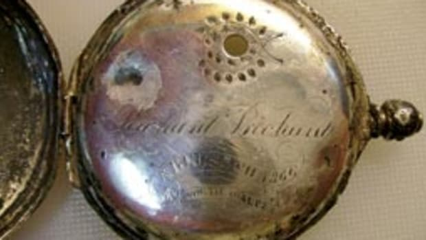 The pocket watch was in good shape for spending 128 years on the bottom.
