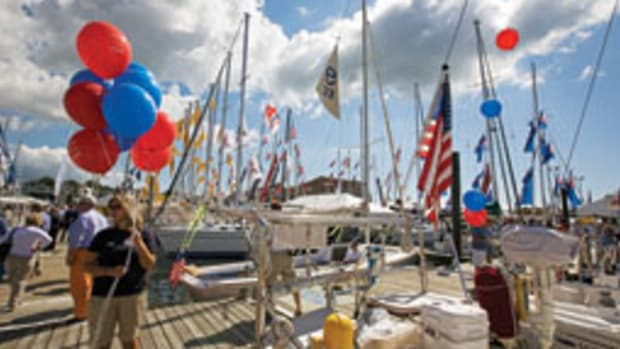The Newport show is known for the variety and number of its sailboats.