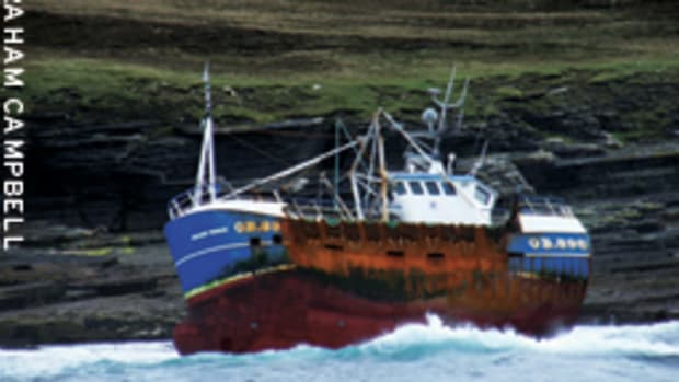 the scallop dredger Golden Promise was on autopilot and the skipper was asleep when it ran hard aground.