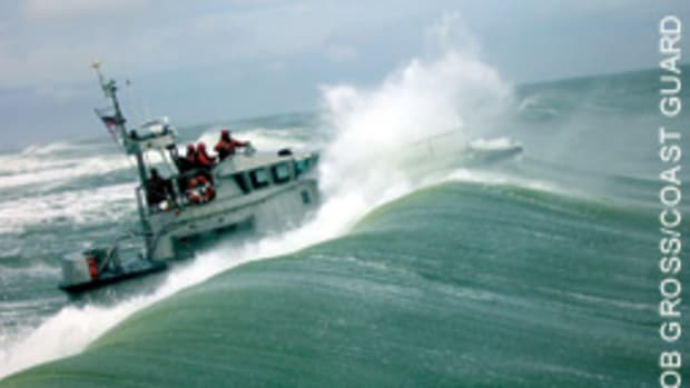 Hatteras Inlet in North Carolina is a proving ground for a Coast Guard boatswain's mate qualifying as a Motor Lifeboat coxswain.