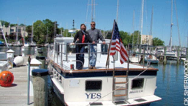 Amanda and Andy Fegley plan to take their DeFever across the Atlantic to cruise the canals of Europe.