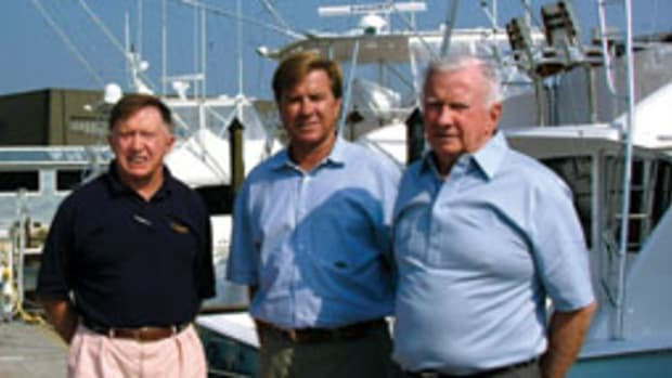 Bill (left). Patrick and Bob Healey run New Jersey-based Viking Yacht Co.