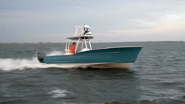 The Harrison Boatworks 28 Center Console Sportfisherman has relatively flat aft sections for an efficient running bottom.