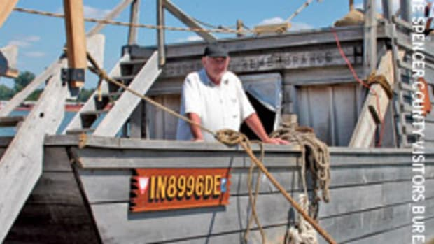 Ron Drake followed in Abraham Lincoln's wake during a flatboat voyage he undertook to celebrate the historic president's 200th birthday.
